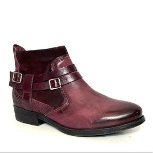 Miz Mooz Daryn Red Leather Snakeskin Embossed Boot